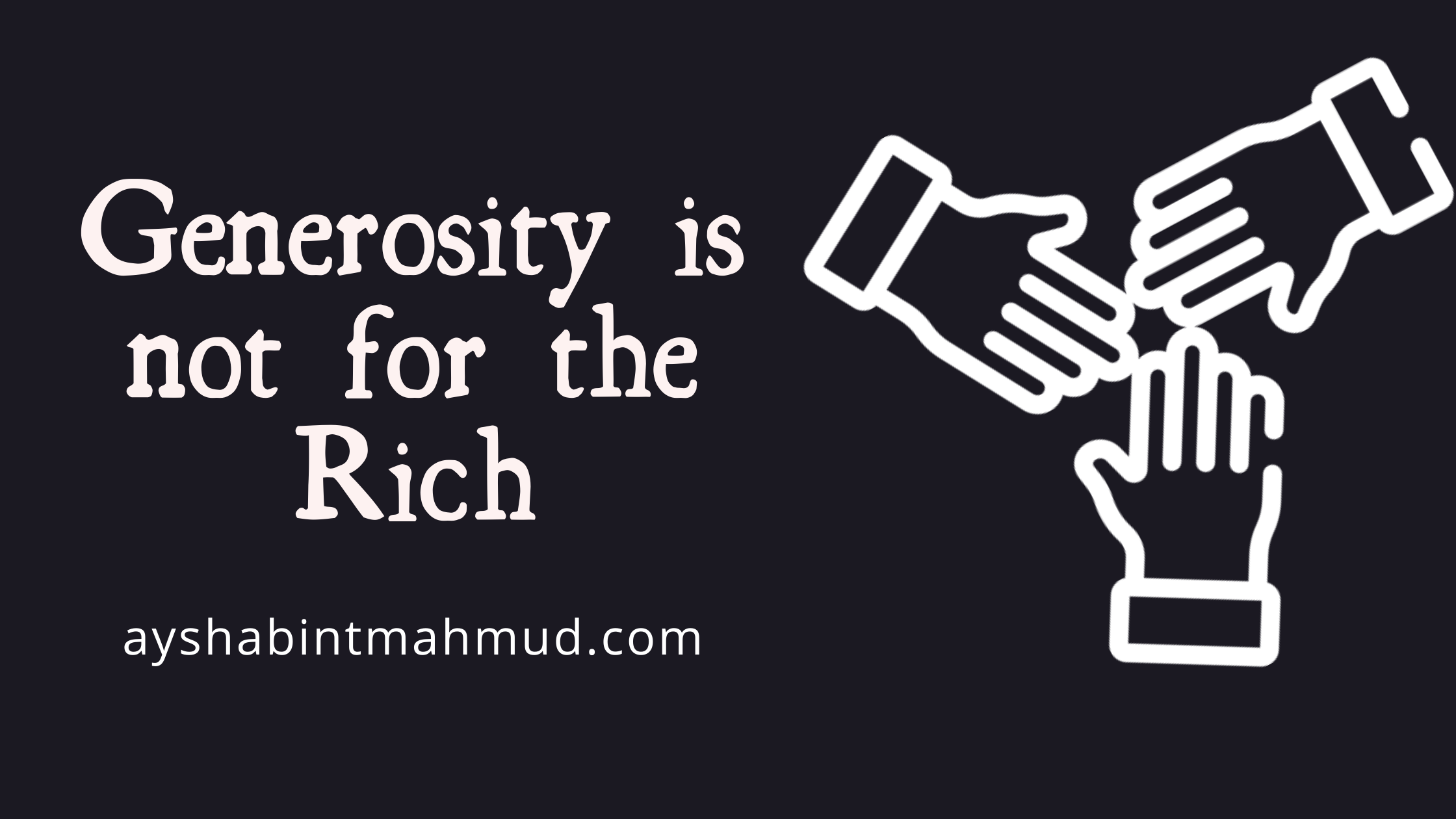 Generosity not for the Rich